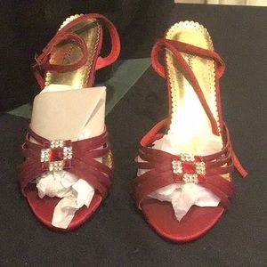 Red satin ankle strapped shoes red and clear bling